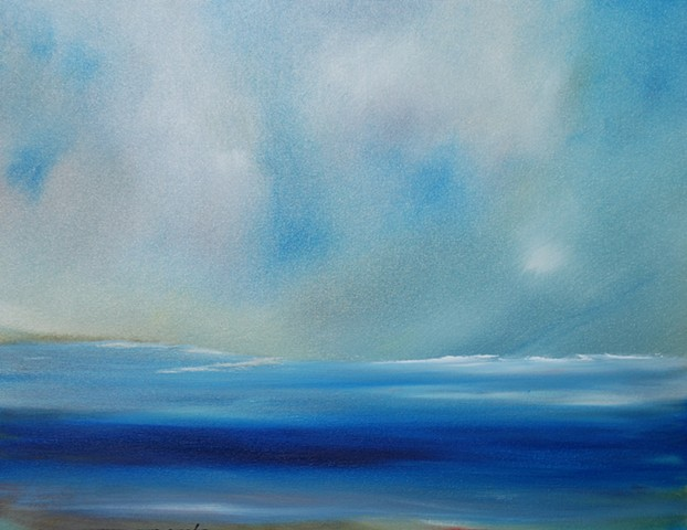 ocean subsiding 16x20 oil on canvas