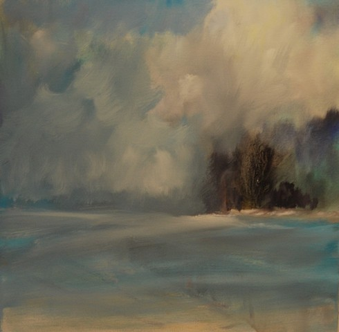 a good winter day 20x20 oil on canvas