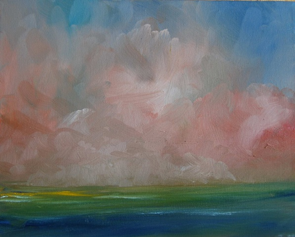 pink fog 11x14 oil on canvas