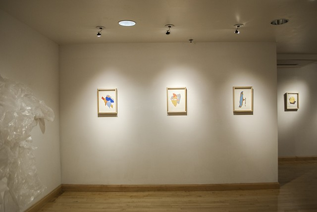 Installation view of Dirty Cyst Open Space drawings for Mineral Density exhibition