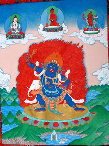 Traditional VajraPani in brocade,Thangka painting, VajraPani, Faith stone art, faithstoneart, Contemporary Buddhist and Hindu art