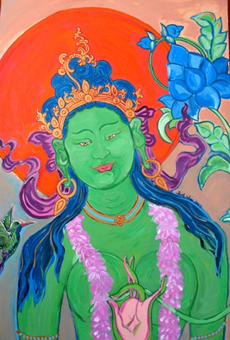 Thangka painting, Green Tara, Faith stone art, faithstoneart, Contemporary Buddhist and Hindu art