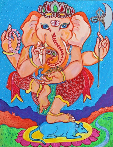 Ganesha, painting, sacred art, faithstoneart, faith stone, elephants, boulder colorado
