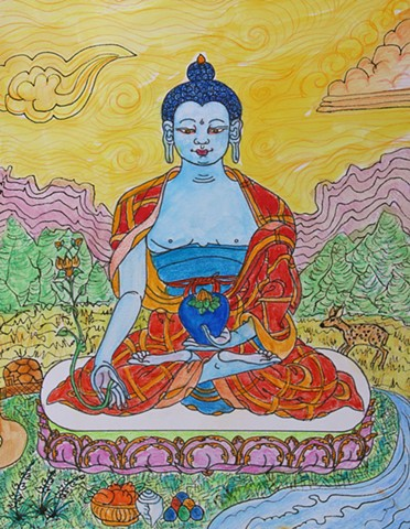 #Medicine Buddha, #Buddhism, #faithstoneart, #Contemporary Buddhist art
