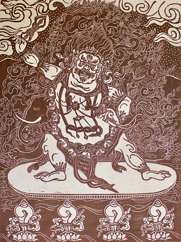 VajraPani, #Buddha woodblocks, #Buddhist Art, #AmericanBuddhist Art, #faithstoneart, Contemporary Buddhist Art