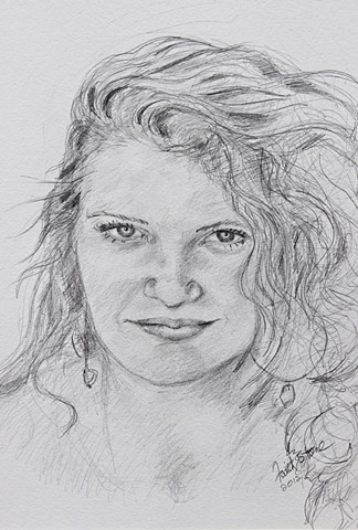 portraits, Kona, pencil drawings