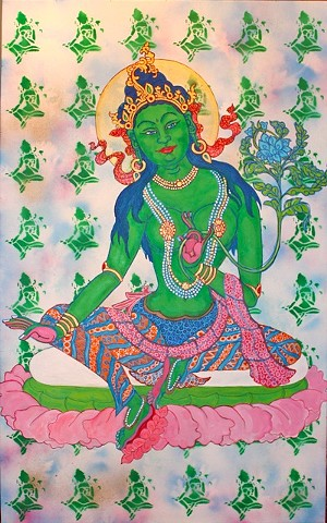Green tara, contemporary buddhist art, contemporary hindu art, tibetan thangka painting, faithstoneart,