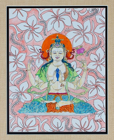 #Chenrezig, #thangka painting, #faithstoneart, #Buddhist art, #Contemporary Buddhist art