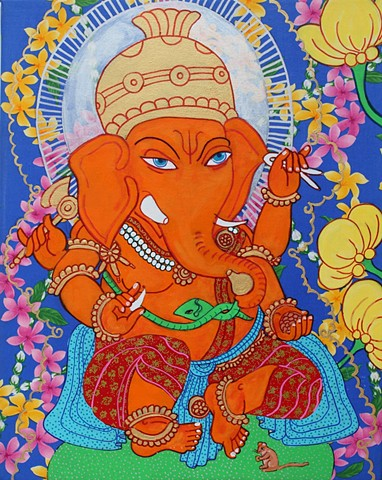 Ganesha, Contemporary buddhist and Hindu art, drawing Buddhas, faithstoneart