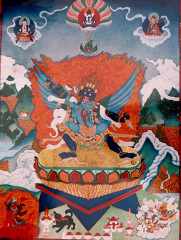 Traditional VajraKalaya in brocade,Thangka painting, Vajra Kalaya two-armed, Faith stone art, faithstoneart, Contemporary Buddhist and Hindu art