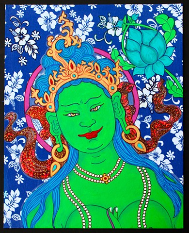 Green Tara, drawing Buddhas, drawing bodhisattvas, faith stone art, thangka painting