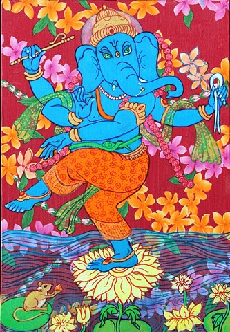 Ganesha, Dancing Ganesha Contemporary Hindu and Buddhist art, faitstoneart,