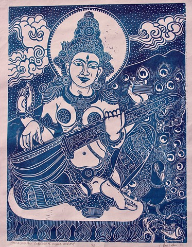 Sarawati, Goddess of Music and Art, mokuhanga woodblock, Buddha woodblocks, #FaithStoneArt