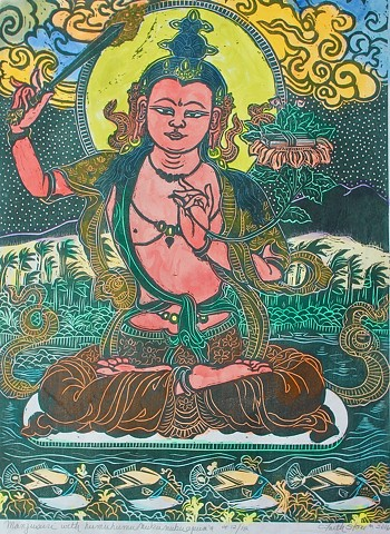Manjusuri, Bodhisattva of wisdom and compassion, #FaithStoneArt, Buddhist Art,