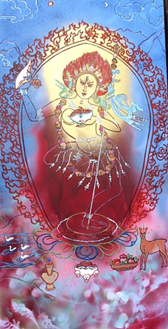 Thangka painting, Vajra Yogini, Faith stone art, faithstoneart, Contemporary Buddhist and Hindu art