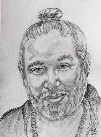 Portrait Babaji, pencil on paper, faithstoneart