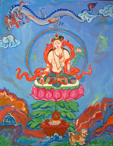 Thangka painting, White Tara, Faith stone art, faithstoneart, Contemporary Buddhist and Hindu art