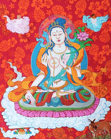 White Tara who brings Babies - the Baby Thangka