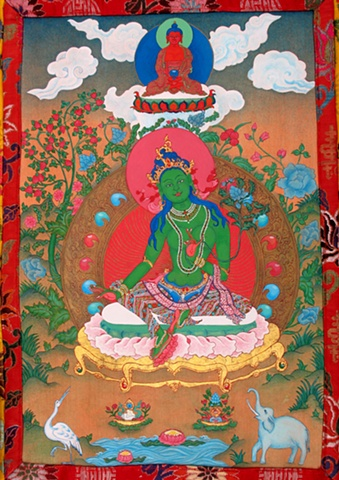 Traditional Green Tara in brocade,Thangka painting, Green Tara, Faith stone art, faithstoneart, Contemporary Buddhist and Hindu art