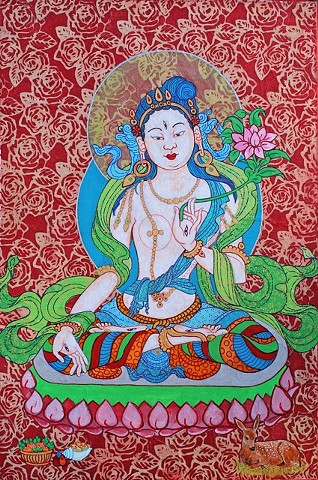 White Tara with Roses, contemporary Buddhist art, Buddhas, Buddhism, art, painting