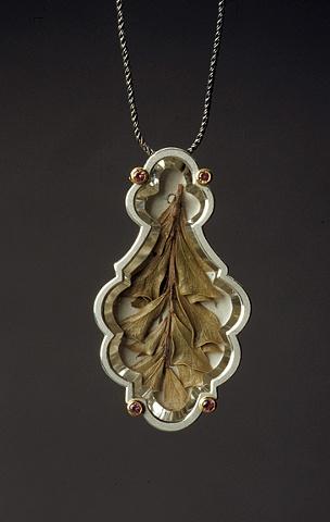 pendant- silver, gold,pink tourmaline, chandelier crystal,leaf,