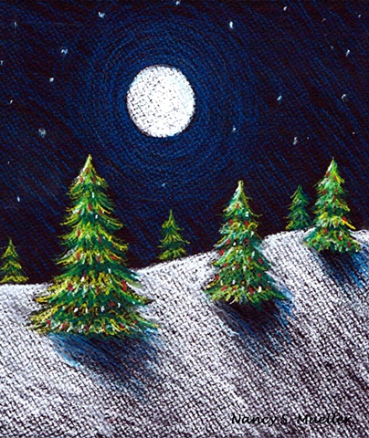 Christmas, Trees, christmas tree, holiday, winter, moon, night