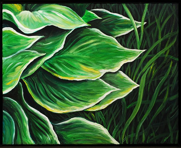 Hostas Leaves and Grass
