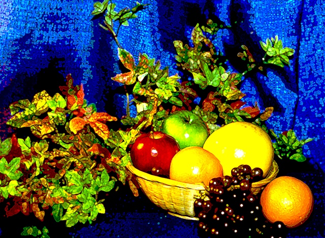 digitally enhanced image of a bowl of fruit