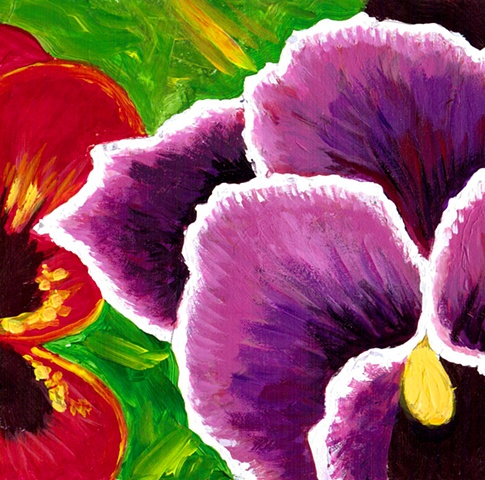 Red and Magenta Pansies Painting