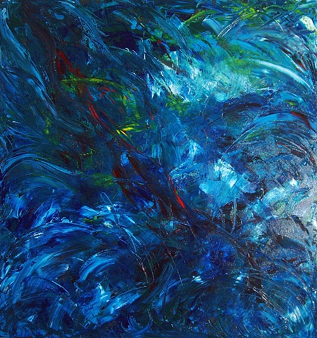Oil, abstract, water, blue, canvas