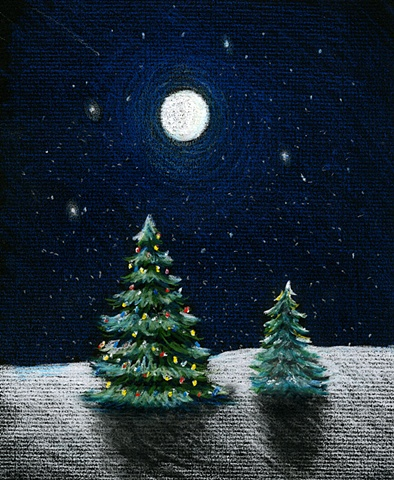 Christmas Trees in the Moonlight
