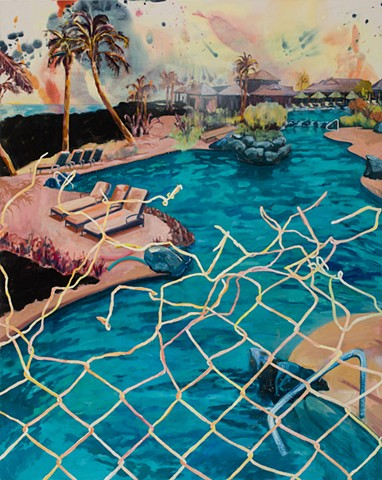 Idyllic scene of an endless pool in Hawaii broken up by a bent and tangled chain-link fance
