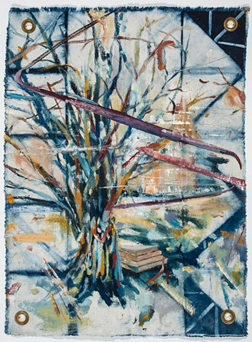 multi-colored gestural and abstracted tree form with decorations and lines of energy swirling around composition