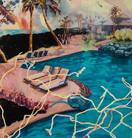 Detail shot of Idyllic scene of an endless pool in Hawaii broken up by a bent and tangled chain-link fance