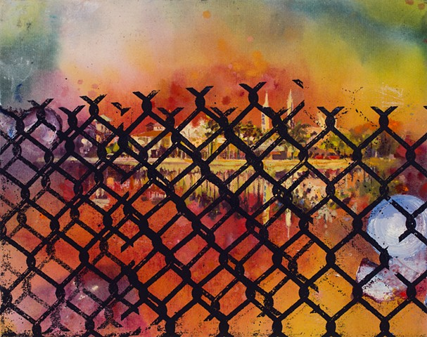Screen-printed chain-link fence over a warm-hued scene of an idyllic town overlooking a reflective lake.