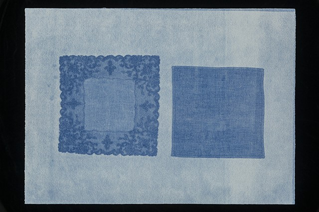 two-sided monotype in blue