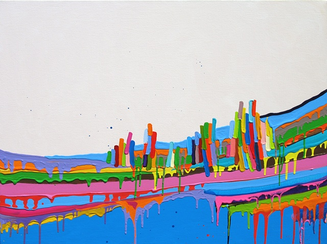 Martina Nehrling, Crouched at the Edge, 30H x 40L in., acrylic on canvas, 2010