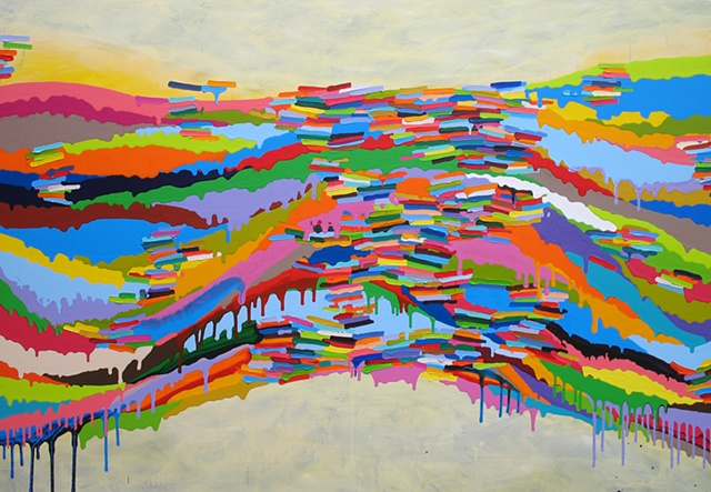 Martina Nehrling, Liquefaction, 50H x 72L in., acrylic on canvas, 2011