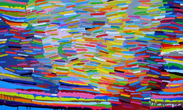 Martina Nehrling, Wake, 36H x 60L in., acrylic on canvas, 2012