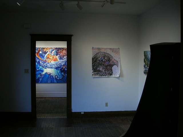 "Installation shot:  ""Aqua-Calamity"", 2009, Jeremy Somer, left  ""Golden Eagle"", 2009, Jeremy Price, right"