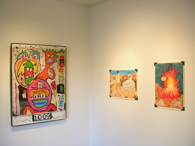 "Installation shot; ""A Nostalgic Look At Artist Frustration"", 2009, Michael Robert Pollard  ""Self Portrait-Final Battle w/ Lame-Ass•California•USA"", 2008 and ""California"", 2008, Danny Hein"