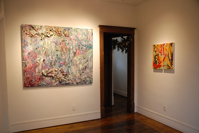 Left: 'Stage, Solo, Spotlight: The Sad, Sorry Saint of Self Destruct', Zack Wirsum, 2013  Center: 'Garland', Pedro Munoz Jr., 2013  Right: 'The Double's Double (Diptych)' Carl Baratta, 2013