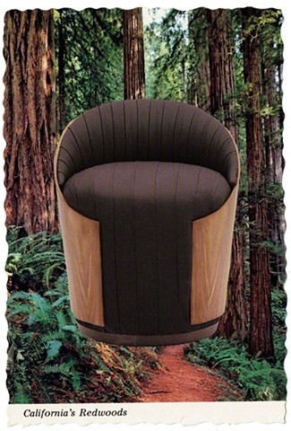 Combining noble materials and ethnic treasures (Wood Wrapped Chair and Mighty Redwoods) 1978 / 2016