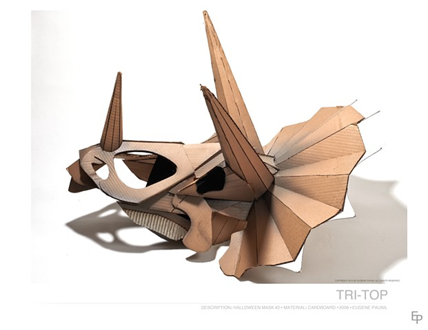 cardboard art, triceratops, mask, costume