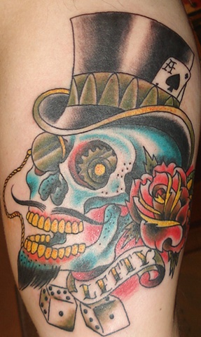 skull and top hat tattoo anthony filo rochester
