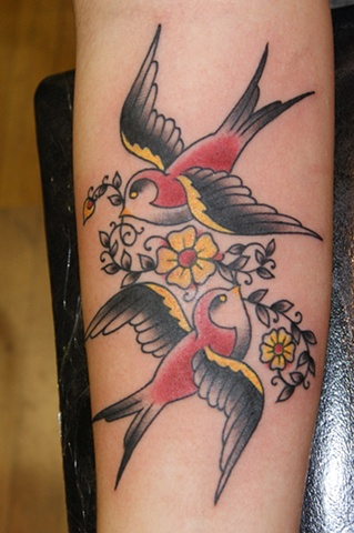 sparrows swallows tattoo - anthony filo rochester