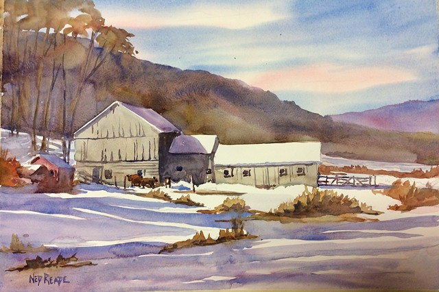 Edgar's Barn and Cows in Winter