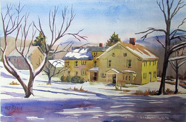 Clay Farmhouse in Winter