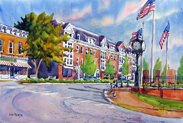 Watercolor of the Pawling Green in Pawling, NY
