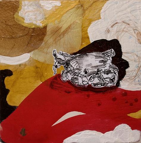 crab, painting, jamie bilgo, wood, sea life, oil, acrylic, animal, creature, collage, xerox